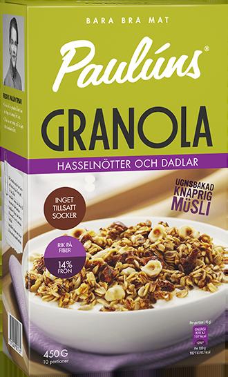 Paulúns Granola Hasselnötter & Dadlar